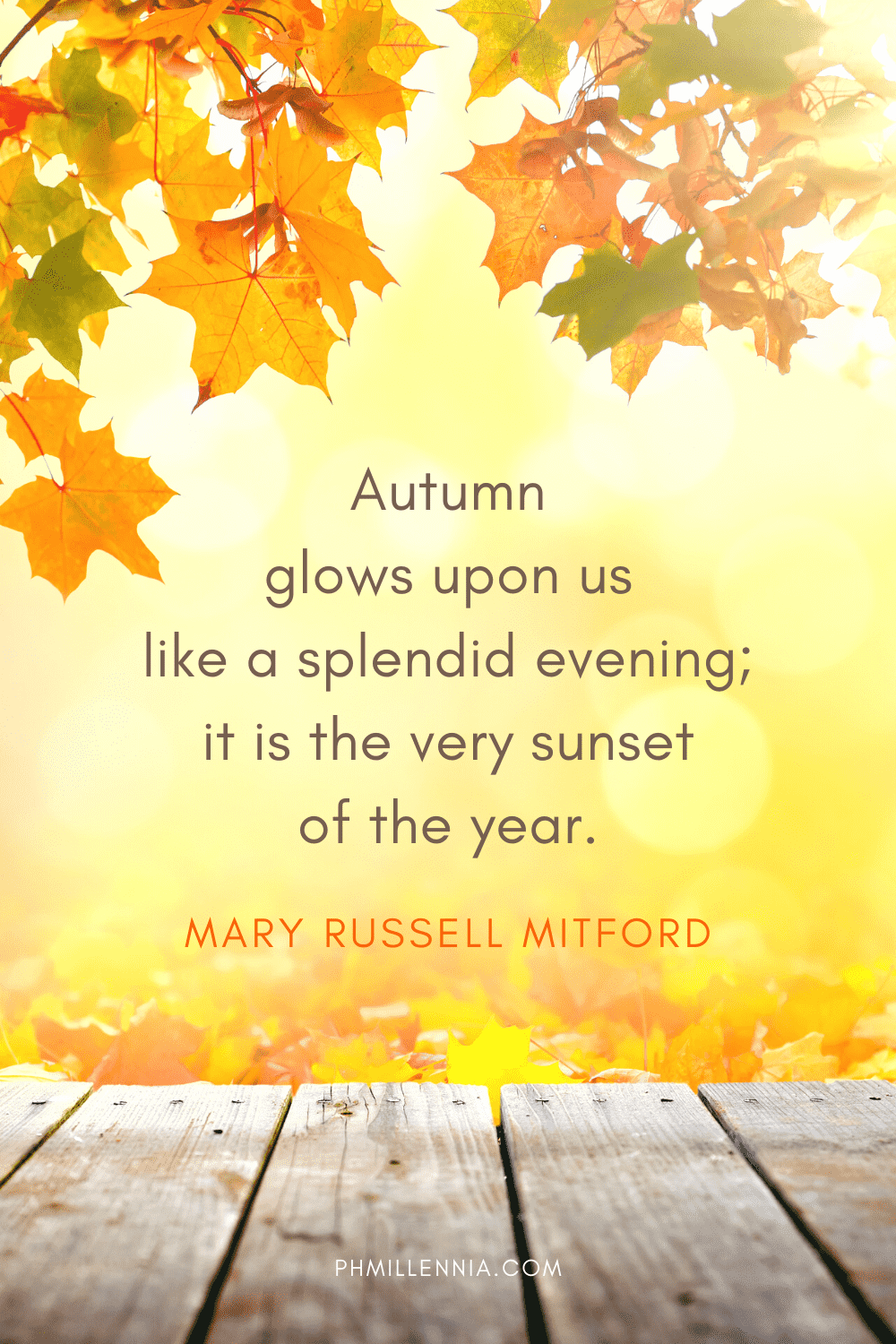 A graphic featuring an autumn quote/fall saying over an image framed by autumn/fall leaves