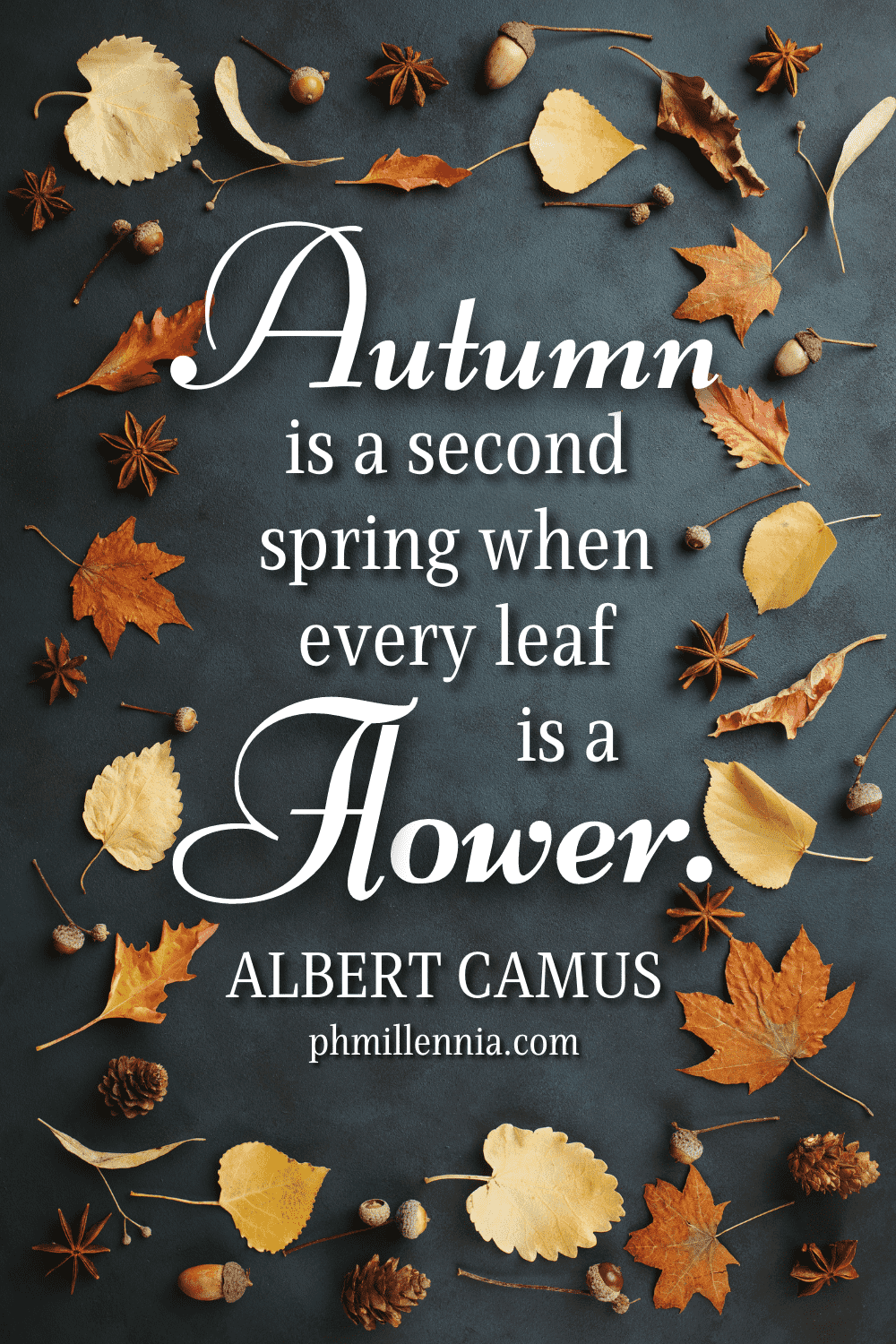 """A graphic featuring an autumn quote/fall saying over an image of autumn/fall leaves arranged flat on a dark surface, designed as a Pinterest Pin for the article """"199 Autumn Quotes to Fall Deeply and Spectacularly in Love With"""" on phmillennia.com"""