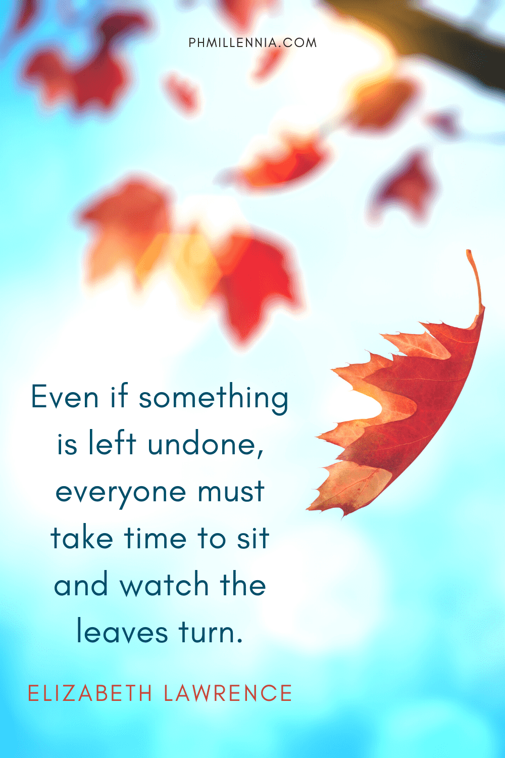 A graphic featuring an autumn quote/fall saying over an image of red leaves falling from a branch in autumn/fall season
