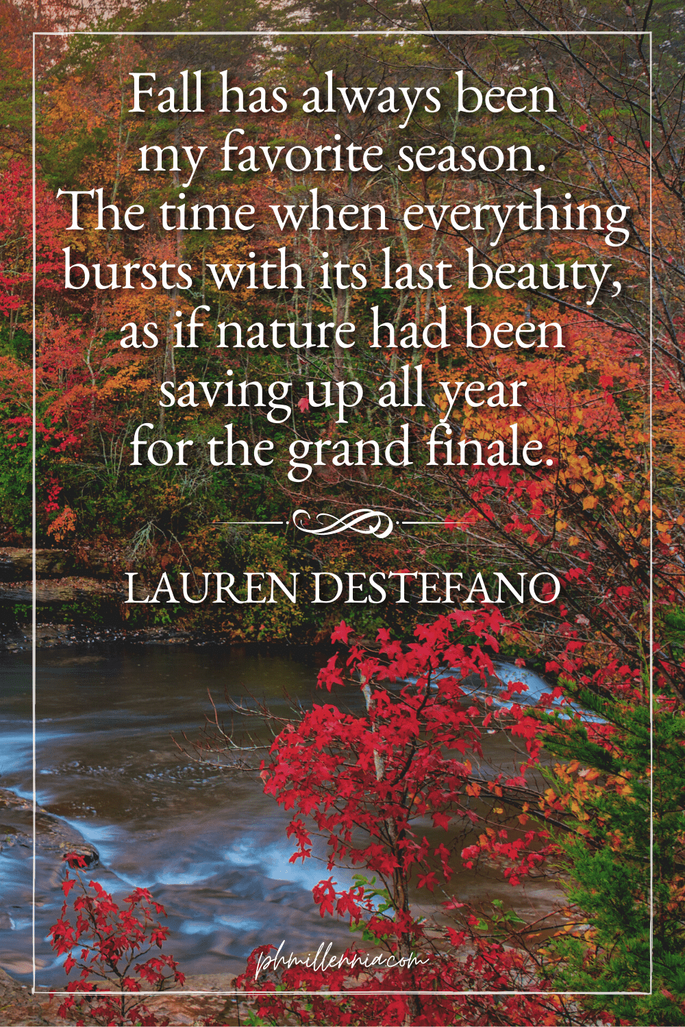 A graphic featuring an autumn quote/fall saying over an image of a river flowing through a forest/woodland full of trees in autumn/fall season