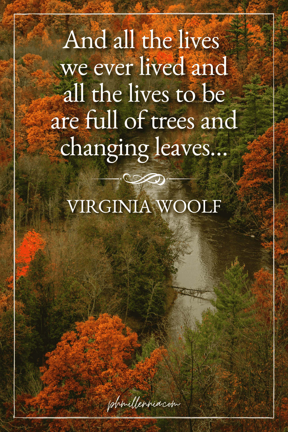 """A graphic featuring an autumn quote/fall saying over an image of an aerial view of autumn/fall forest tree foliage, designed as a Pinterest Pin for the article """"199 Autumn Quotes to Fall Deeply and Spectacularly in Love With"""" on phmillennia.com"""