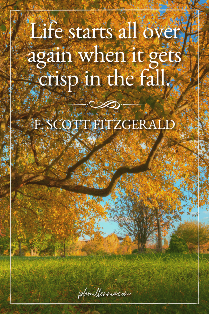 A graphic featuring an autumn quote/fall saying over an image of trees on a grassy field during autumn/fall season