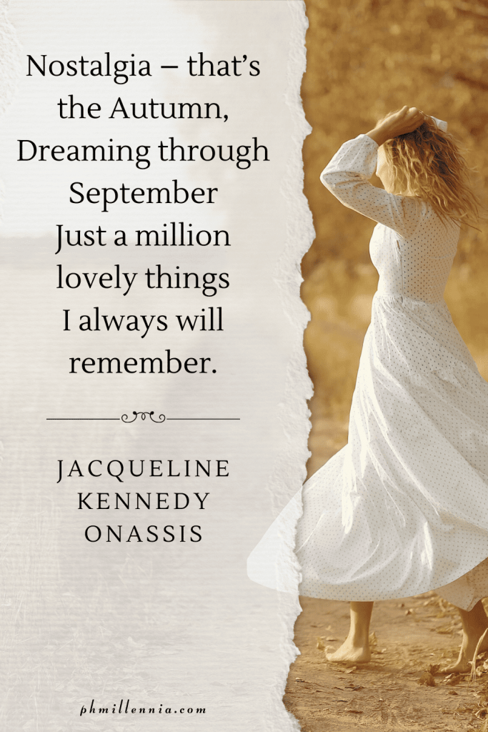 A graphic featuring an autumn quote/fall saying over an image of a woman in a white dress on a field in autumn/fall season