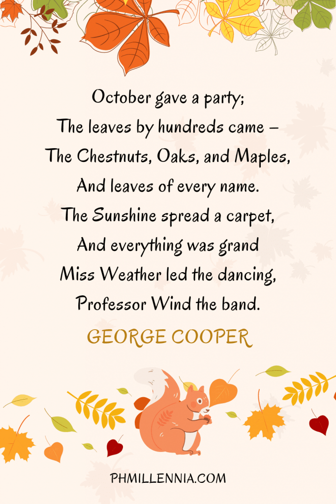A graphic featuring an autumn quote/fall saying over an image of a squirrel with a nut and autumn/fall leaves