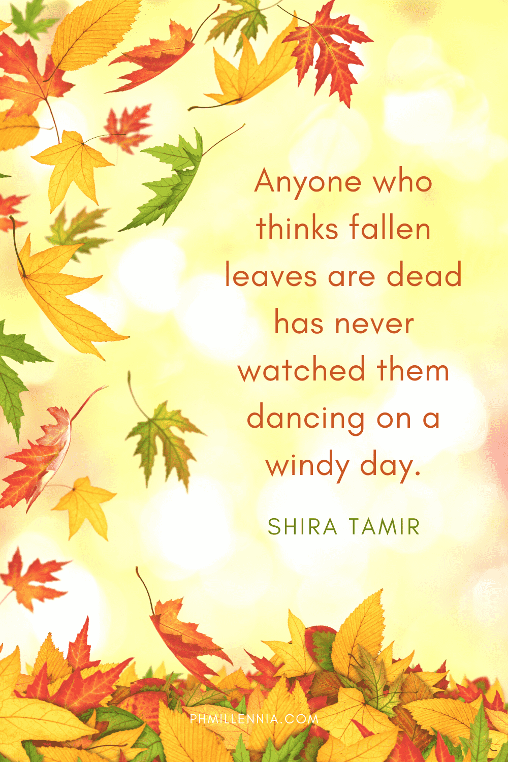 A graphic featuring an autumn quote/fall saying over an image of autumn/fall leaves drifting downwards