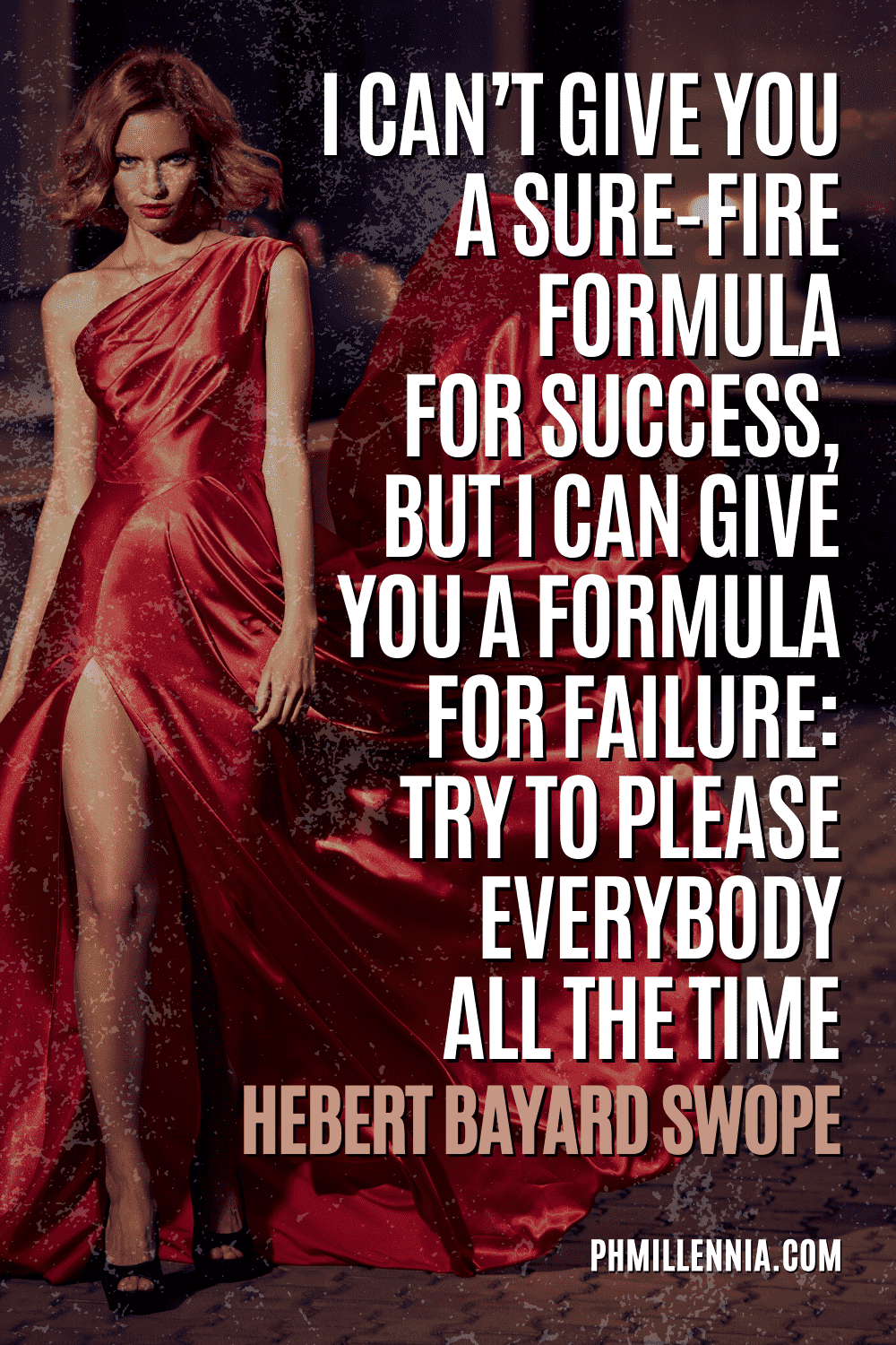 A graphic containing text on an image of a woman in a billowing red dress