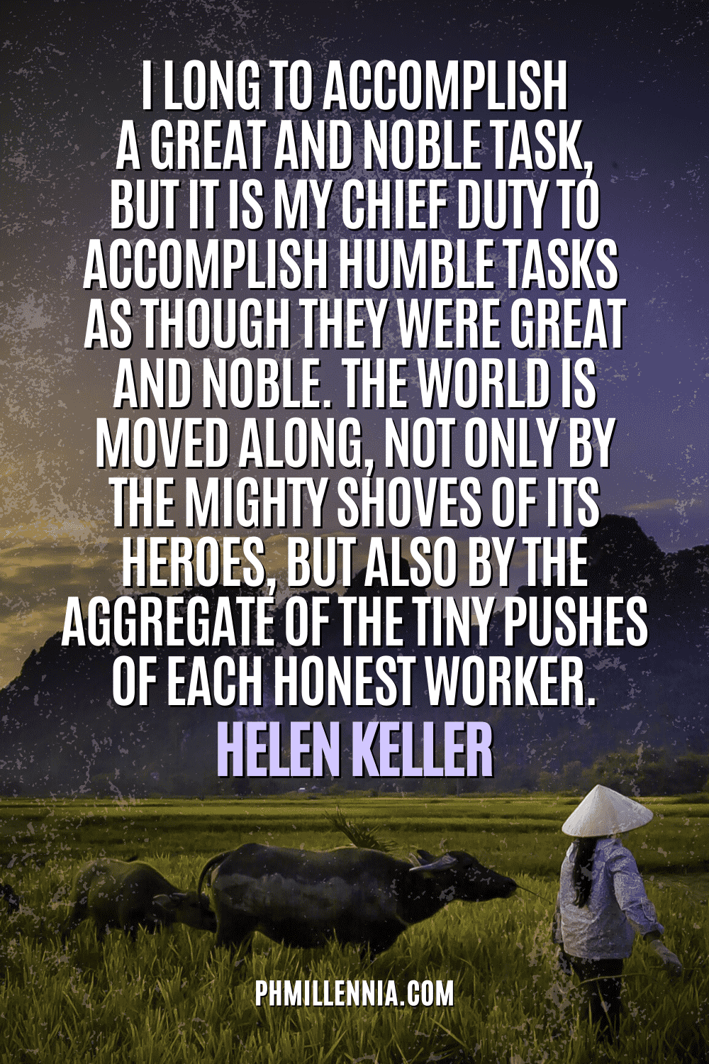 """A graphic containing text on an image of a woman farmer leading a herd of buffalo through a rice field at dawn, intended as a Pinterest Pin for the article """"199 Quotes on Success to Inspire You to Greatness"""" on phmillennia.com"""