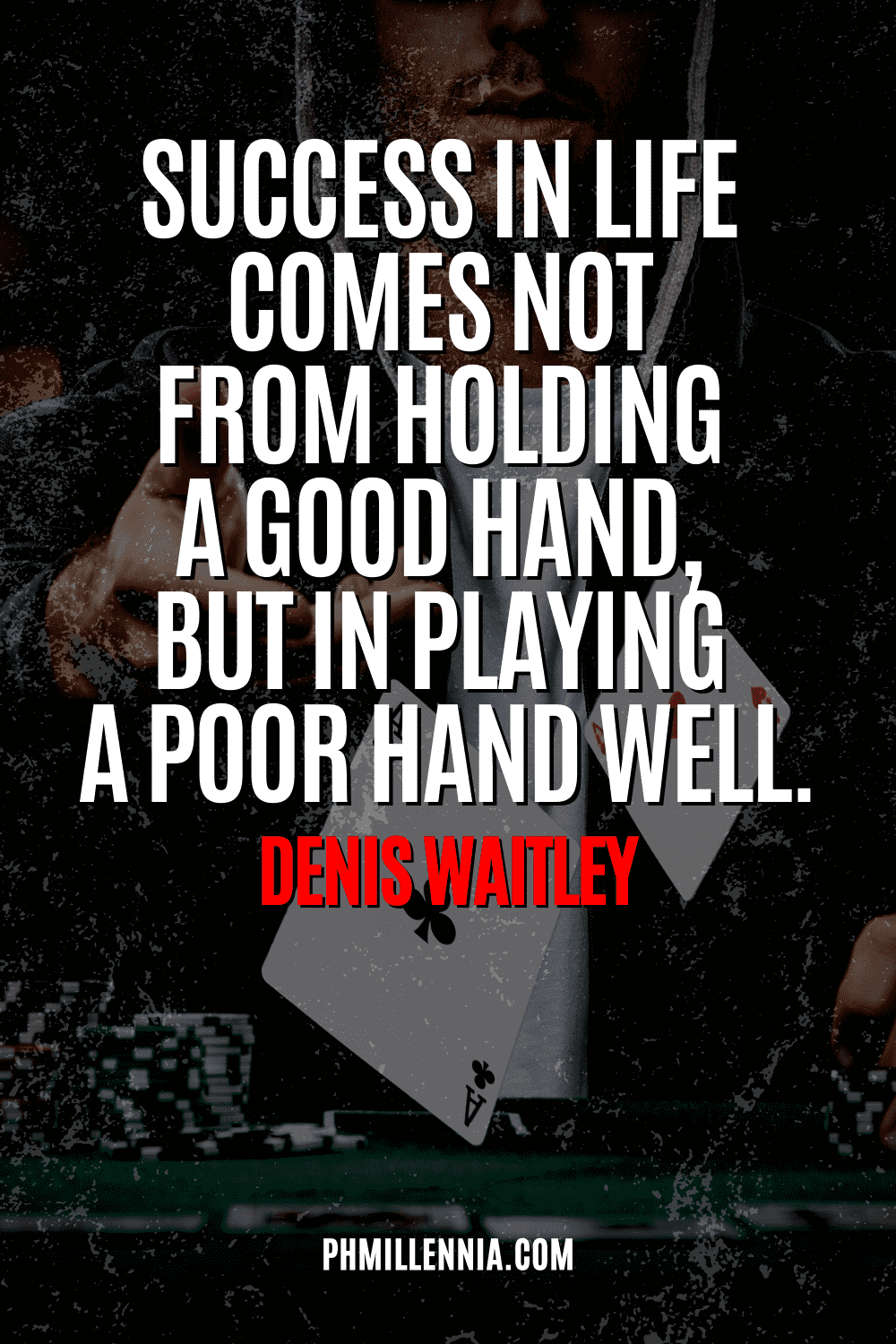 """A graphic containing text on an image of a man throwing a bunch of cards, intended as a Pinterest Pin for the article """"199 Quotes on Success to Inspire You to Greatness"""" on phmillennia.com"""