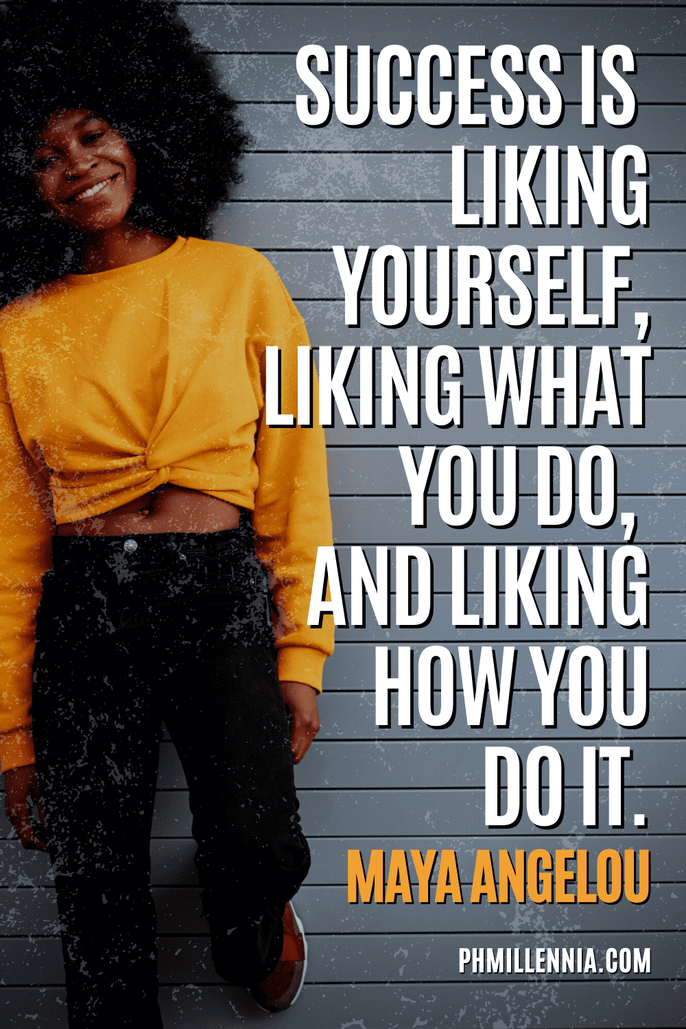 """A graphic containing text on an image of a smiling black woman leaning against a wall, intended as a Pinterest Pin for the article """"199 Quotes on Success to Inspire You to Greatness"""" on phmillennia.com"""