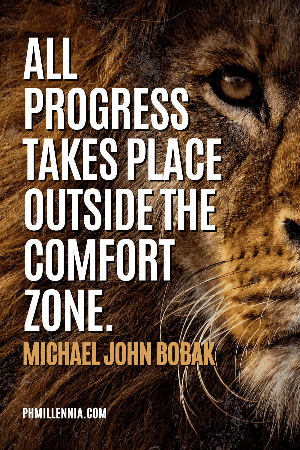 """A graphic containing text on an image of a lion, intended as a Pinterest Pin for the article """"199 Quotes on Success to Inspire You to Greatness"""" on phmillennia.com"""