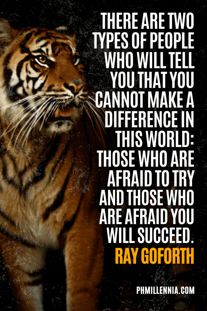"""A graphic containing text on an image of a tiger, intended as a Pinterest Pin for the article """"199 Quotes on Success to Inspire You to Greatness"""" on phmillennia.com"""