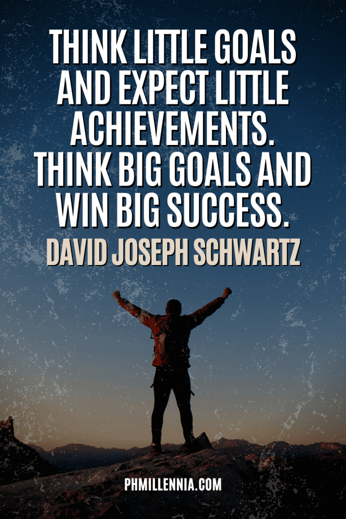 """A graphic containing text on an image of person standing with arms wide open, intended as a Pinterest Pin for the article """"199 Quotes on Success to Inspire You to Greatness"""" on phmillennia.com"""