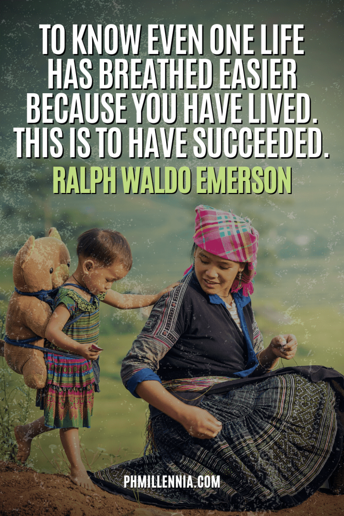 """A graphic containing text on an image of child holding on to her mother, intended as a Pinterest Pin for the article """"199 Quotes on Success to Inspire You to Greatness"""" on phmillennia.com"""