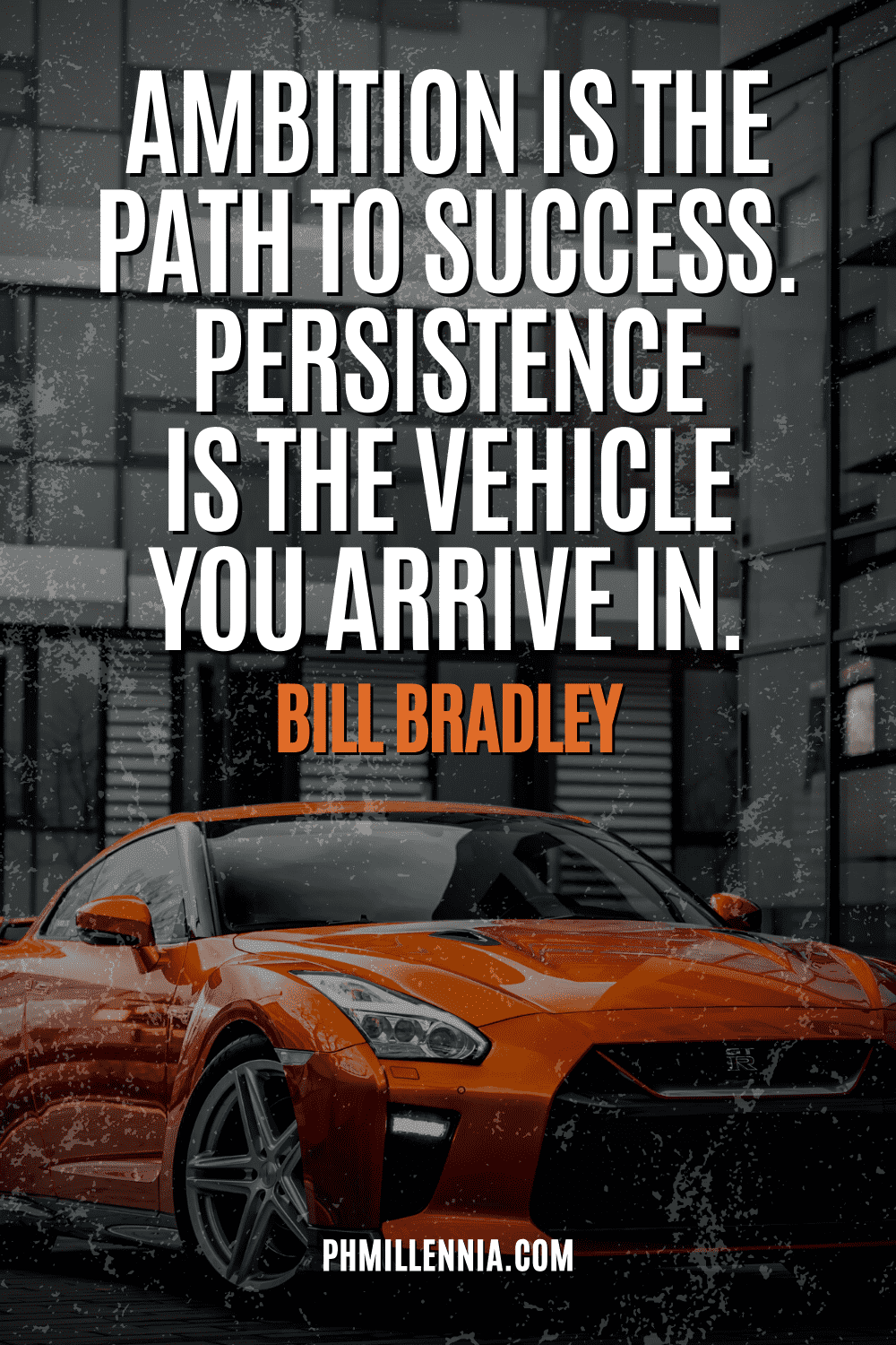 A graphic containing text on an image of a sports car parked in front of buildings