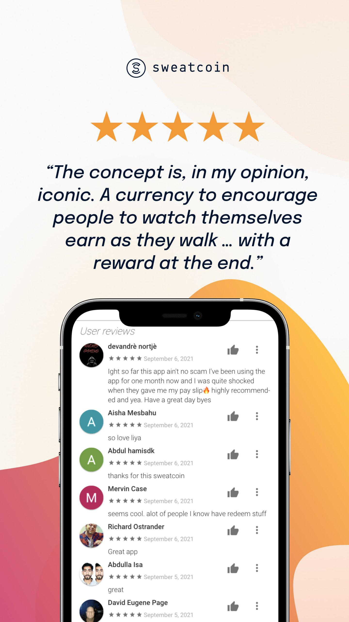 A promotional graphic for Sweatcoin, the app that pays you to walk
