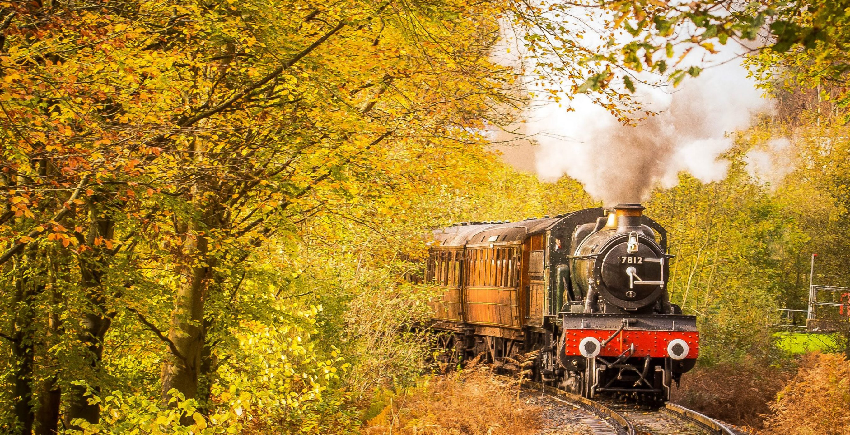 A steam train moves along an old railway surrounded by trees in autumn season, used as a Featured Image for the article entitled