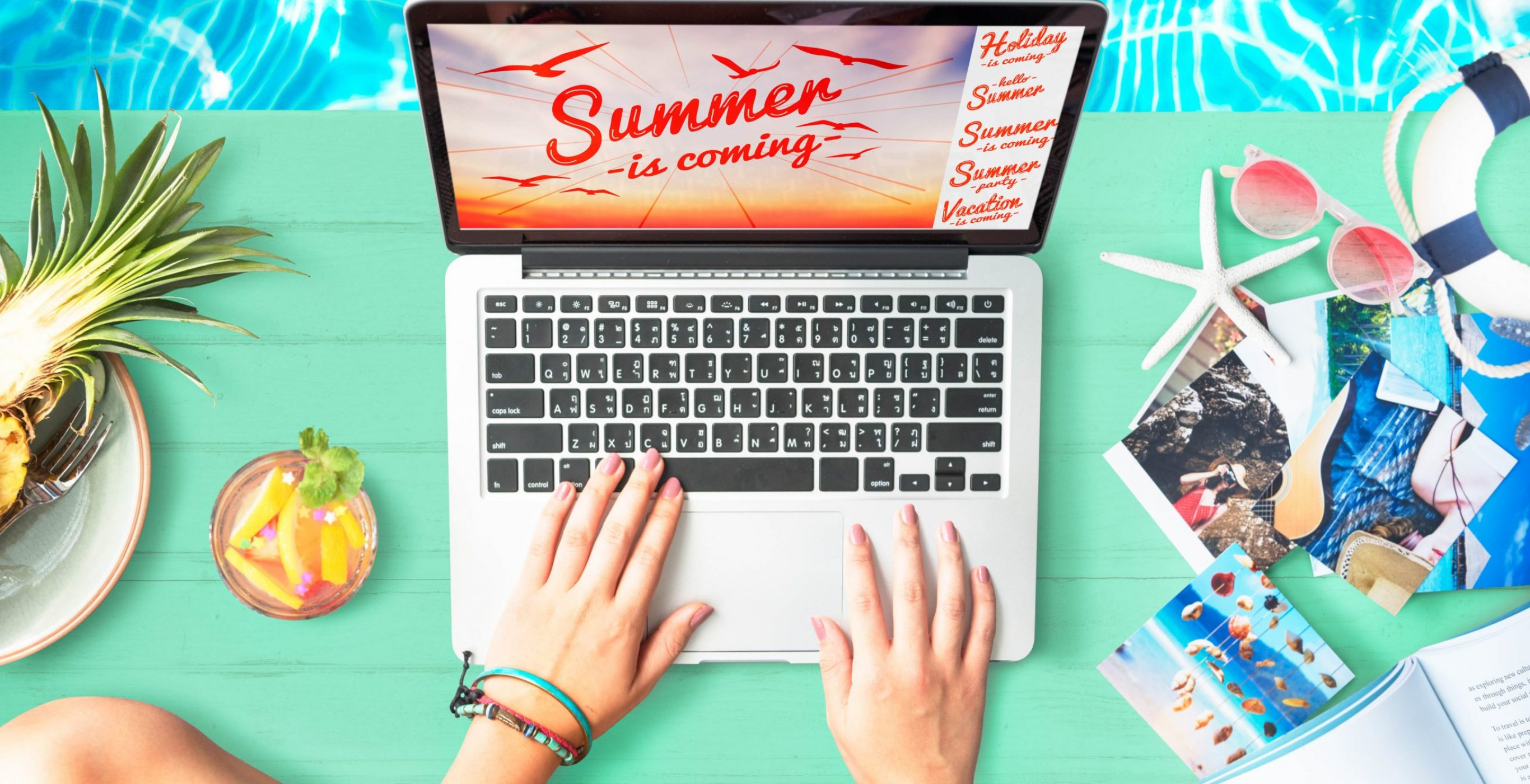 A mockup of a laptop and other beach- and summer-themed items and accessories, used as a featured image for the article
