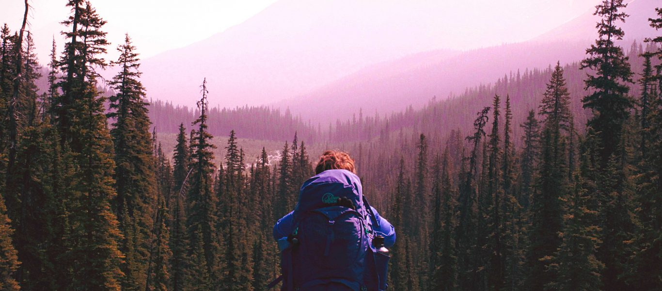 Sitting woman with backpack string into woods and mountains