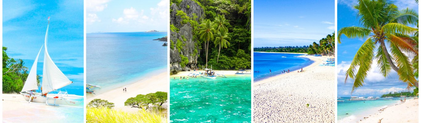 20 of the best beaches in the Philippines with featured image presenting Boracay in Aklan, Calaguas in Camarines Norte, El Nido in Palawan, Pagudpud in Ilocos Norte, and Panglao in Bohol, Philippines