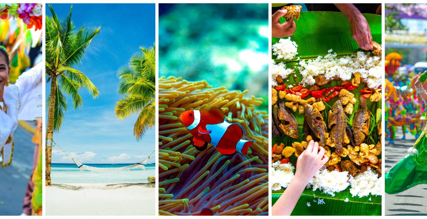 Collage of five images featuring the best reasons to visit the Philippines