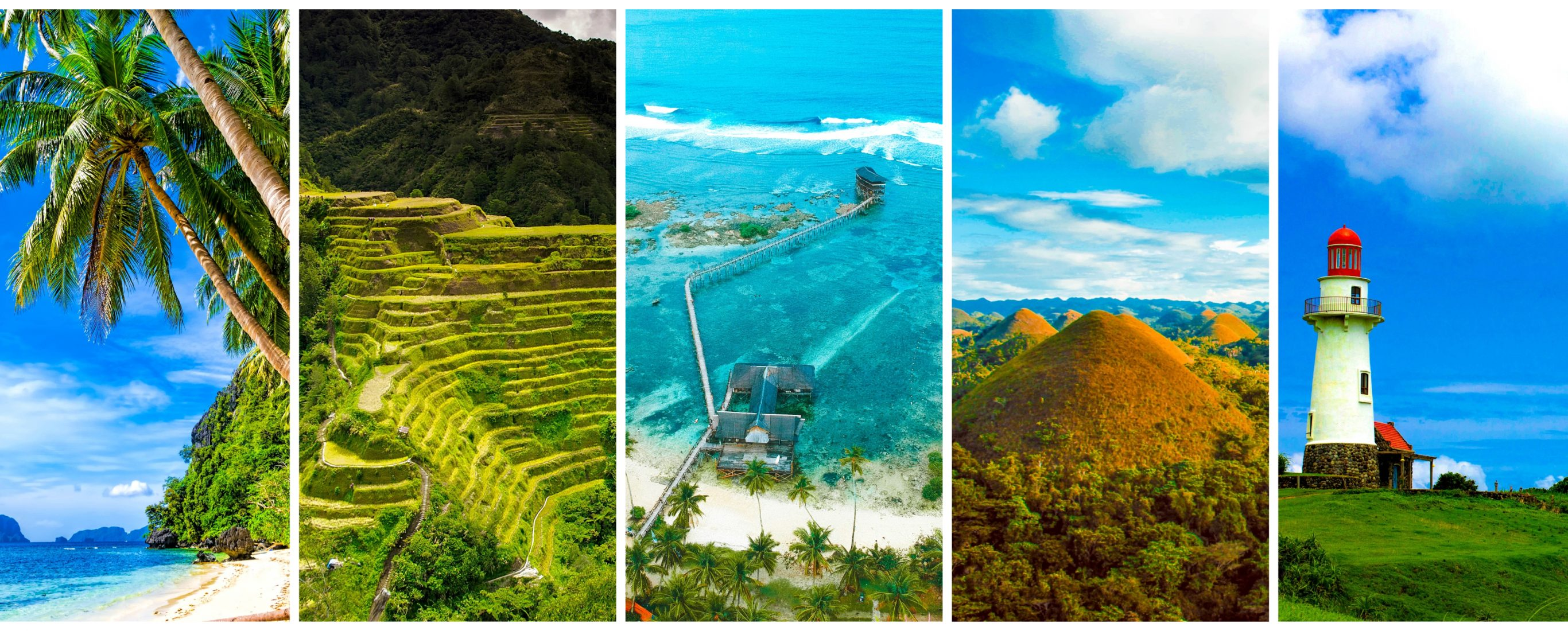 The most amazing places in the Philippines - Part 1 featuring El Nido in Palawan, the Rice Terraces of Ifugao, Siargao Island in Surigao del Norte, the Chocolate Hills of Bohol, and Batanes Islands.